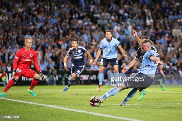 Jordy Buijs of Sydney FC takes a shot on goal during the 2017 ALeague Grand Final match between Sydney FC and the Melbourne Victory at Allianz...