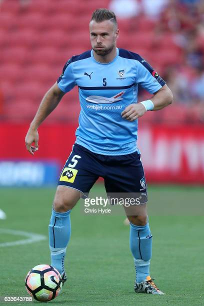 Jordy Buijs of Sydney FC warms up before the round 18 ALeague match between the Brisbane Roar and Sydney FC at Suncorp Stadium on February 3 2017 in...