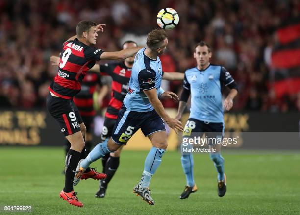 Jordy Buijs of Sydney FC wins a header during the round three ALeague match between Sydney FC and the Western Sydney Wanderers at Allianz Stadium on...