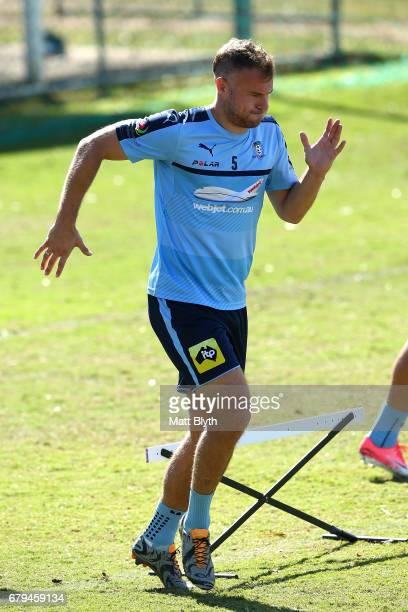 Jordy Buijs performs drills during a Sydney FC ALeague training session at Macquarie Uni on May 6 2017 in Sydney Australia