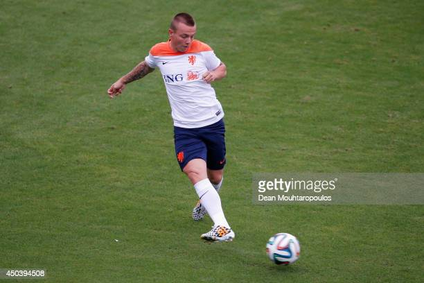 Jordy Clasie in action during the Netherlands training session at the 2014 FIFA World Cup Brazil held at the Estadio Jose Bastos Padilha Gavea on...