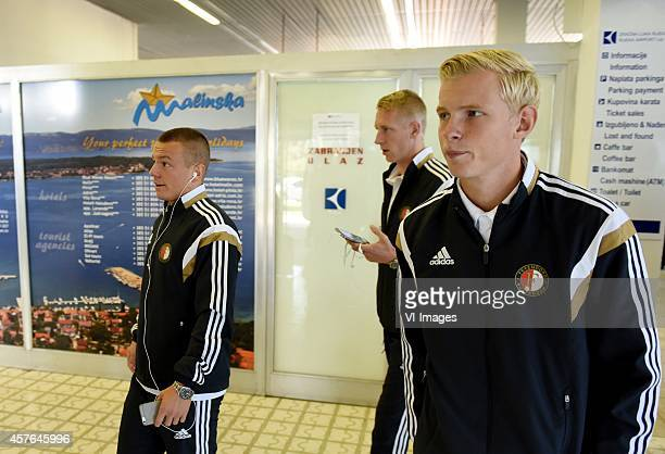 Jordy Clasie Lex Immers Lucas Woudenberg of Feyenoord during a press conference prior to the UEFA Europa League match between NK Rijeka and Feyenoord...