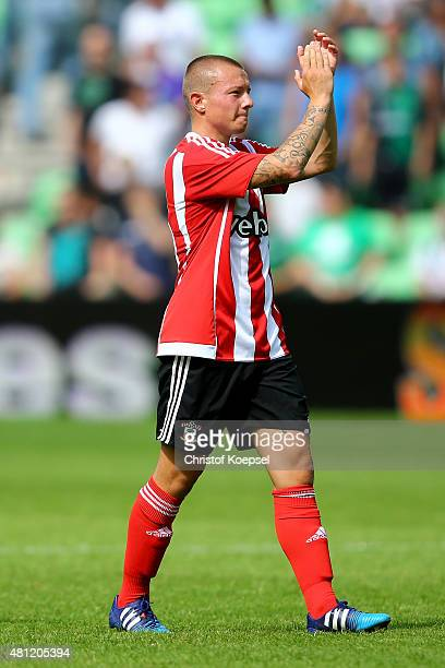 Jordy Clasie of FC Southampton celebrates after the friendly match between FC Groningen and FC Southampton at Euroborg Arena on July 18 2015 in...