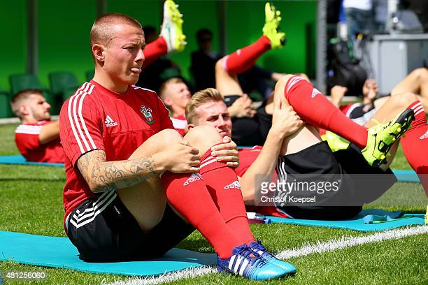 Jordy Clasie of FC Southampton warms up prior to the friendly match between FC Groningen and FC Southampton at Euroborg Arena on July 18 2015 in...