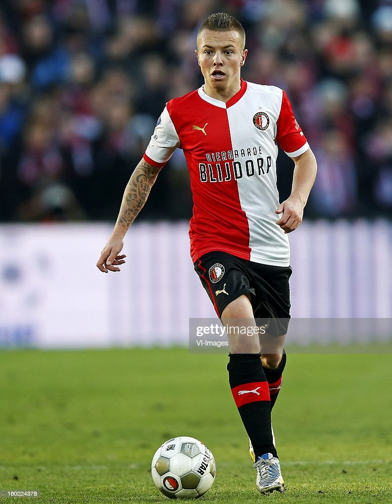 Jordy Clasie of Feyenoord during the Dutch Eredivise match between Feyenoord and FC Twente at stadium De Kuip on January 27, 2013 in Rotterdam, The Netherlands.