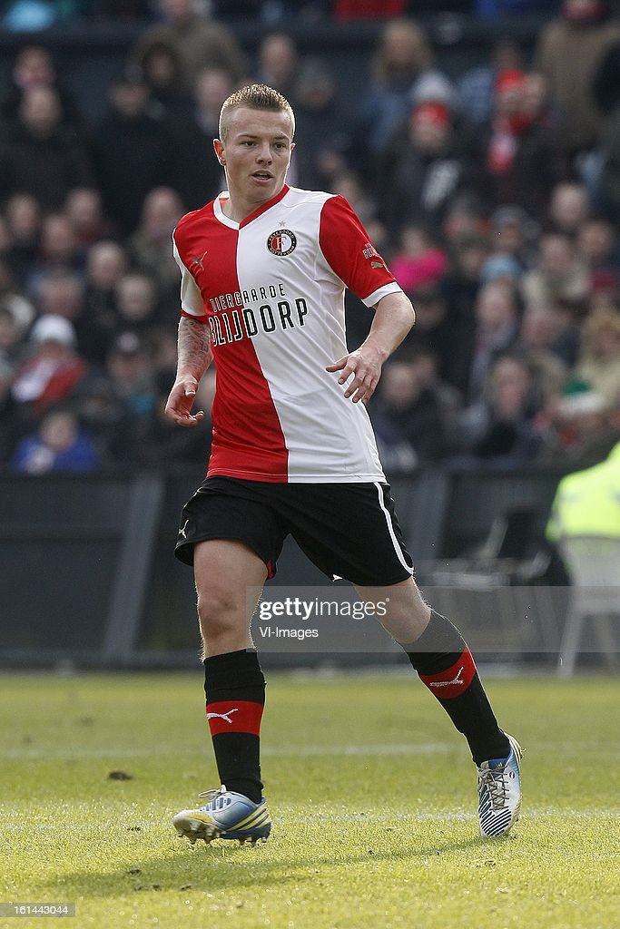 Jordy Clasie of Feyenoord during the Dutch Eredivisie match between Feyenoord and AZ Alkmaar at stadium De Kuip on february 10, 2013 in Rotterdam, The Netherlands