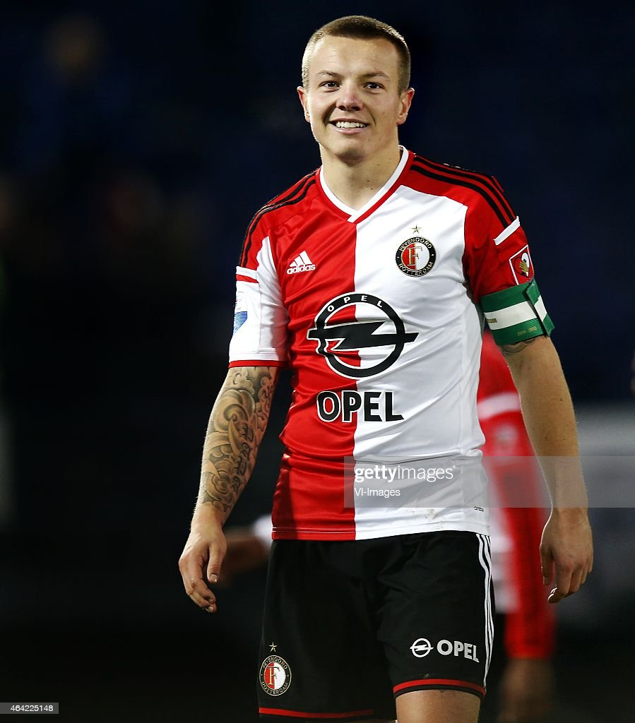 <a gi-track='captionPersonalityLinkClicked' href=/galleries/search?phrase=Jordy+Clasie&family=editorial&specificpeople=7012011 ng-click='$event.stopPropagation()'>Jordy Clasie</a> of Feyenoord during the Dutch Eredivisie match between Feyenoord and Excelsior Rotterdam at the Kuip on February 22, 2015 in Rotterdam, The Netherlands