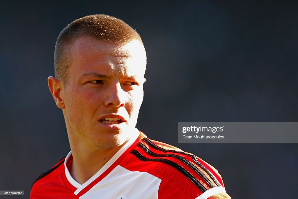 <a gi-track='captionPersonalityLinkClicked' href=/galleries/search?phrase=Jordy+Clasie&family=editorial&specificpeople=7012011 ng-click='$event.stopPropagation()'>Jordy Clasie</a> of Feyenoord looks on during the Dutch Eredivisie match between Feyenoord and PSV Eindhoven at De Kuip on March 22, 2015 in Rotterdam, Netherlands.