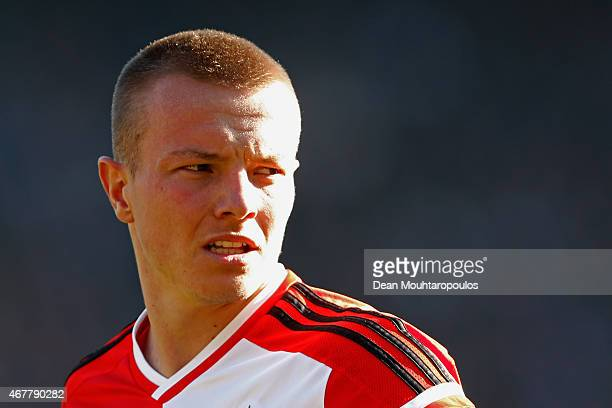Jordy Clasie of Feyenoord looks on during the Dutch Eredivisie match between Feyenoord and PSV Eindhoven at De Kuip on March 22 2015 in Rotterdam...