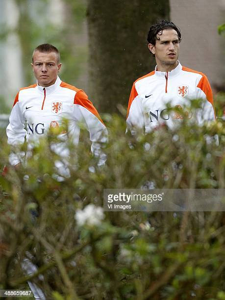 Jordy Clasie of Holland Daryl Janmaat of Holland during a training session of the Netherlands on May 7 2014 at Hoenderloo The Netherlands