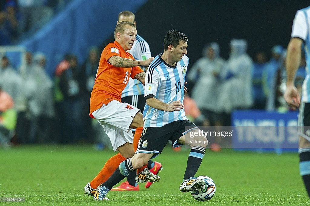 Jordy Clasie of Holland, Lionel Messi of Argentina during the match between The Netherlands and Argentina on July 9, 2014 at Arena de Sao Paulo in Sao Paulo, Brazil.