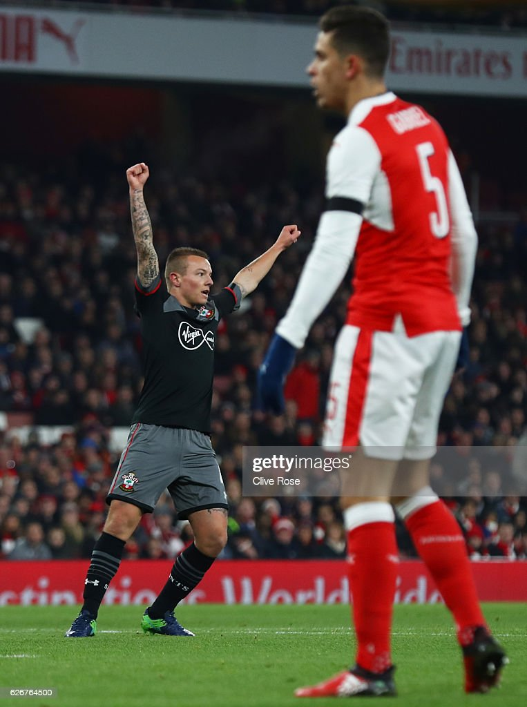 Jordy Clasie of Southampton celebrates after scoring the opening goal of the game during the EFL Cup quarter final match between Arsenal and Southampton at the Emirates Stadium on November 30, 2016 in London, England.