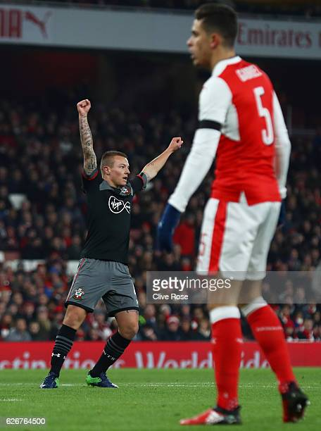 Jordy Clasie of Southampton celebrates after scoring the opening goal of the game during the EFL Cup quarter final match between Arsenal and...