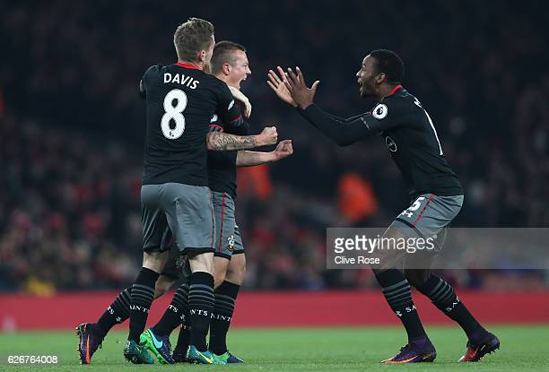 Jordy Clasie of Southampton celebrates with team mates after scoring the opening goal of the game during the EFL Cup quarter final match between...