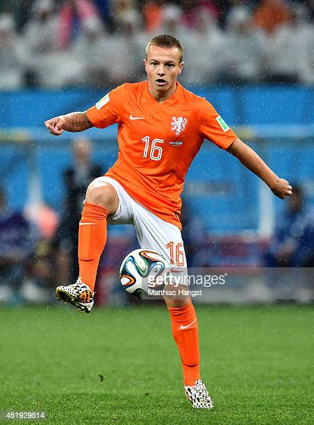 Jordy Clasie of the Netherlands controls the ball during the 2014 FIFA World Cup Brazil Semi Final match between the Netherlands and Argentina at...