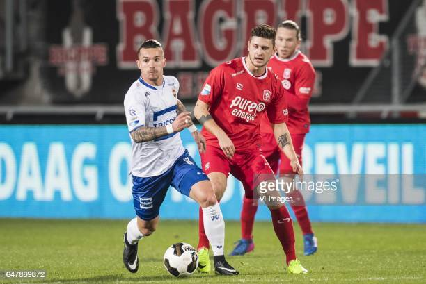 Jordy Croux of Willem II Mateusz Klich of FC Twenteduring the Dutch Eredivisie match between FC Twente and Willem II Tilburg at the Grolsch Veste on...