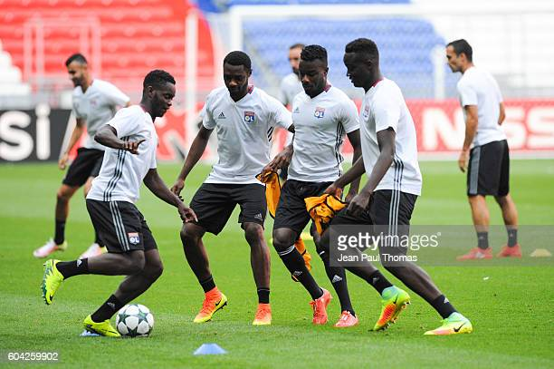 Jordy GASPAR Nicolas NKOULOU Maxwel CORNET and Mouctar DIAKHABY of Lyon during the training session ahead of the Uefa Champions League match between...