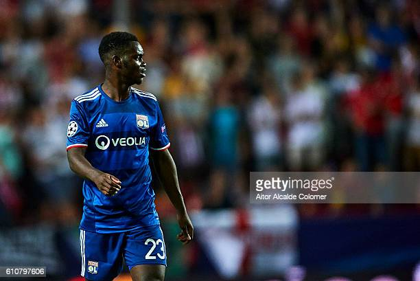 Jordy Gaspar of Olympique Lyonnais looks on during the UEFA Champions League match between Sevilla FC and Olympique Lyonnais at Sanchez Pizjuan...