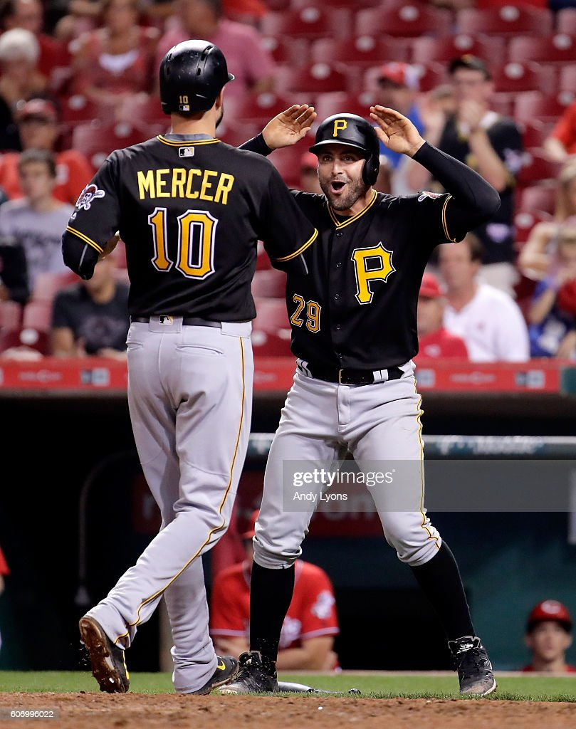 Starling marte photos photos cincinnati reds v pittsburgh pirates - Pittsburgh Pirates V Cincinnati Reds Jordy Mercer 10 And Francisco Cervelli 29 Of The Pittsburgh Pirates Celebrate After Scoring