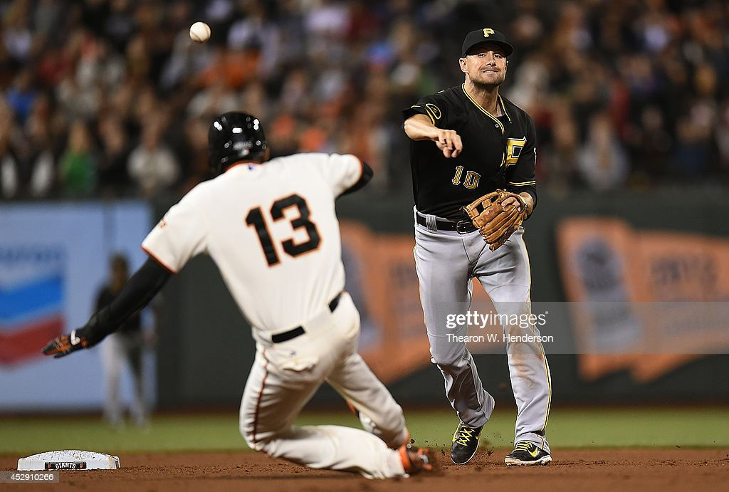 <a gi-track='captionPersonalityLinkClicked' href=/galleries/search?phrase=Jordy+Mercer&family=editorial&specificpeople=4412527 ng-click='$event.stopPropagation()'>Jordy Mercer</a> #10 of the Pittsburgh Pirates completes the double-play over the top of Joaquin Arias #13 of the San Francisco Giants in the bottom of the eighth inning at AT&T Park on July 29, 2014 in San Francisco, California.