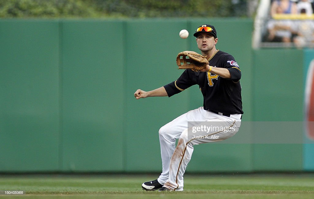 Jordy Mercer #69 of the Pittsburgh Pirates fields a ground ball against the Los Angeles Dodgers during the game on August 16, 2012 at PNC Park in Pittsburgh, Pennsylvania. The Pirates defeated the Dodgers 10-6.