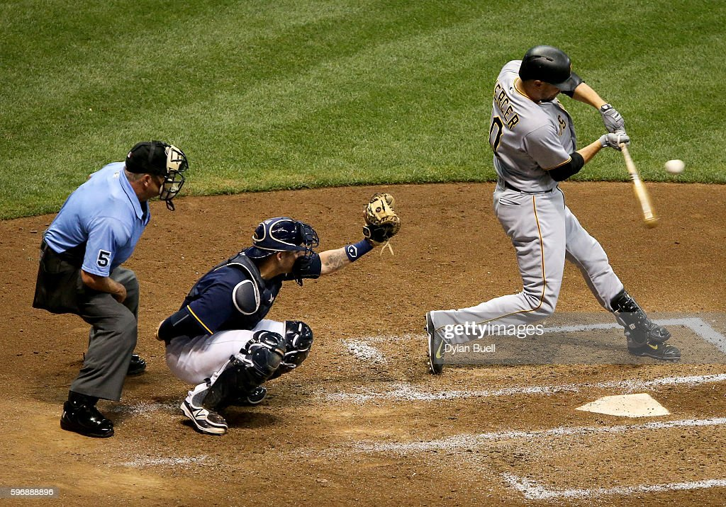 Jordy Mercer of the Pittsburgh Pirates flies out in the sixth inning against the Milwaukee Brewers at Miller Park on August 25 2016 in Milwaukee...