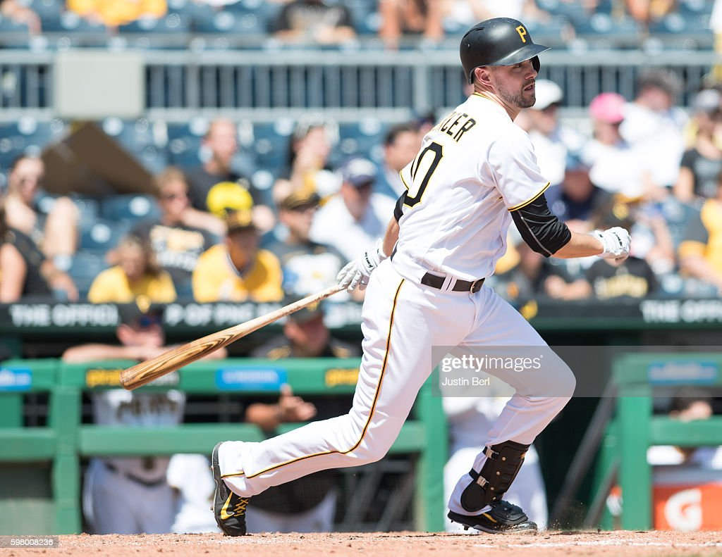 Jordy Mercer of the Pittsburgh Pirates in action during the game against the Houston Astros at PNC Park on August 24 2016 in Pittsburgh Pennsylvania