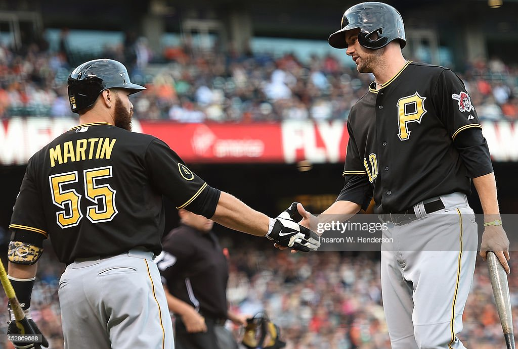 <a gi-track='captionPersonalityLinkClicked' href=/galleries/search?phrase=Jordy+Mercer&family=editorial&specificpeople=4412527 ng-click='$event.stopPropagation()'>Jordy Mercer</a> #10 of the Pittsburgh Pirates is congratulated by <a gi-track='captionPersonalityLinkClicked' href=/galleries/search?phrase=Russell+Martin+-+Baseball+Player&family=editorial&specificpeople=13764024 ng-click='$event.stopPropagation()'>Russell Martin</a> #55 after Mercer scored against the San Francisco Giants in the top of the first inning at AT&T Park on July 28, 2014 in San Francisco, California.