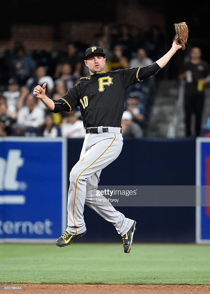 Jordy Mercer #10 of the Pittsburgh Pirates makes a leaping catch on a ball hit by Derek Norris #3 of the San Diego Padres during the sixth inning of a baseball game at PETCO Park on April 20, 2016 in San Diego, California.