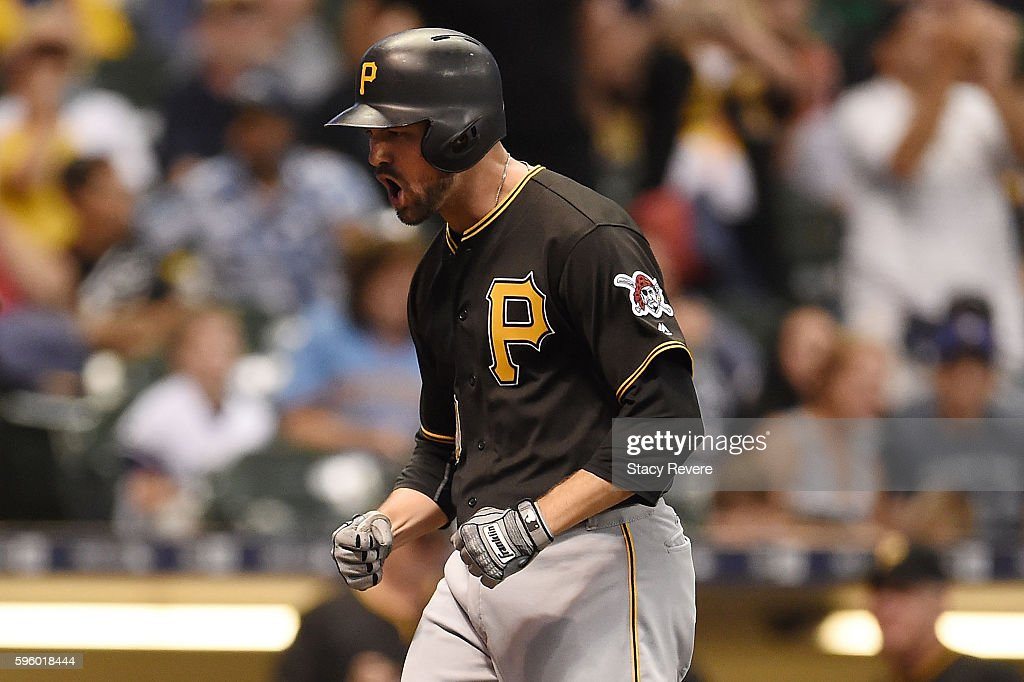 Jordy Mercer of the Pittsburgh Pirates reacts to a grand slam homerun during the sixth inning of a game against the Milwaukee Brewers at Miller Park...