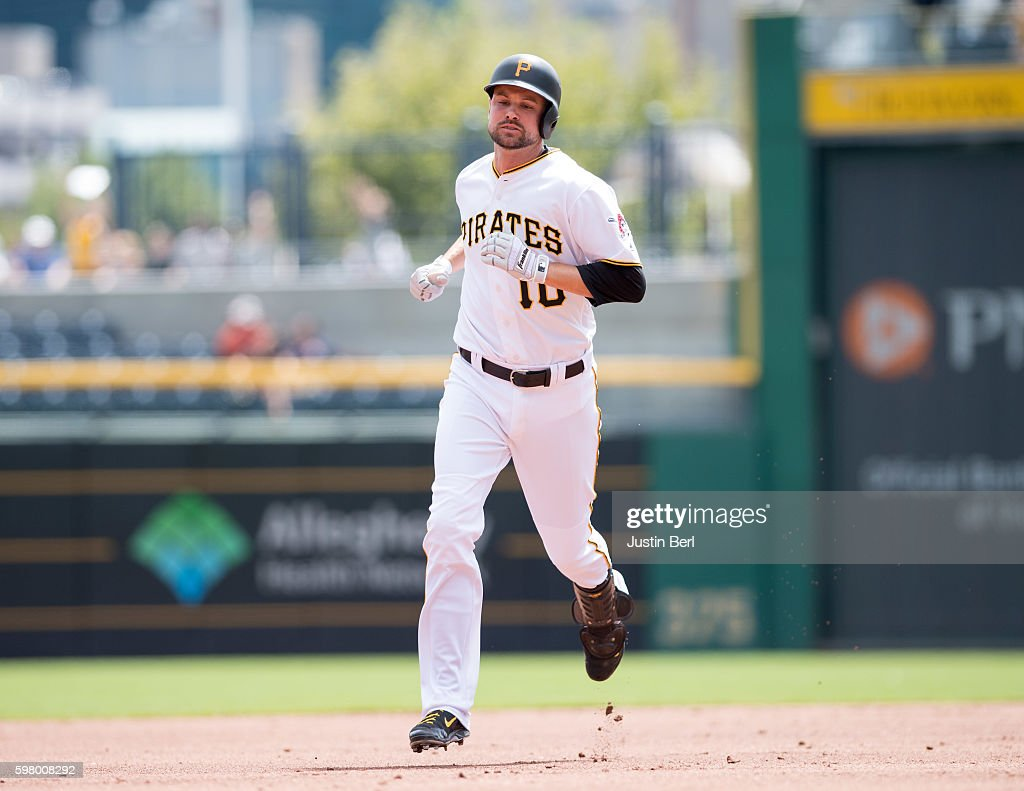 Jordy Mercer of the Pittsburgh Pirates rounds the bases after hitting a solo home run in the third inning during the game against the Houston Astros...