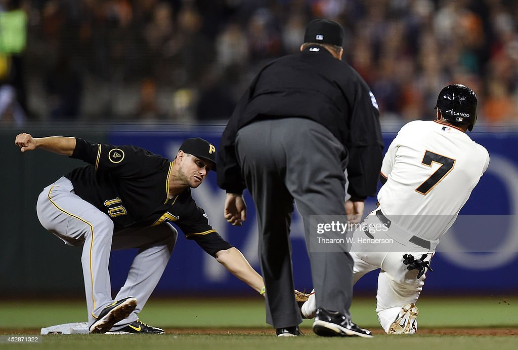 <a gi-track='captionPersonalityLinkClicked' href=/galleries/search?phrase=Jordy+Mercer&family=editorial&specificpeople=4412527 ng-click='$event.stopPropagation()'>Jordy Mercer</a> #10 of the Pittsburgh Pirates tags out <a gi-track='captionPersonalityLinkClicked' href=/galleries/search?phrase=Gregor+Blanco&family=editorial&specificpeople=4137600 ng-click='$event.stopPropagation()'>Gregor Blanco</a> #7 of the San Francisco Giants attempting to steal second base in the bottom of the sixth inning at AT&T Park on July 28, 2014 in San Francisco, California.