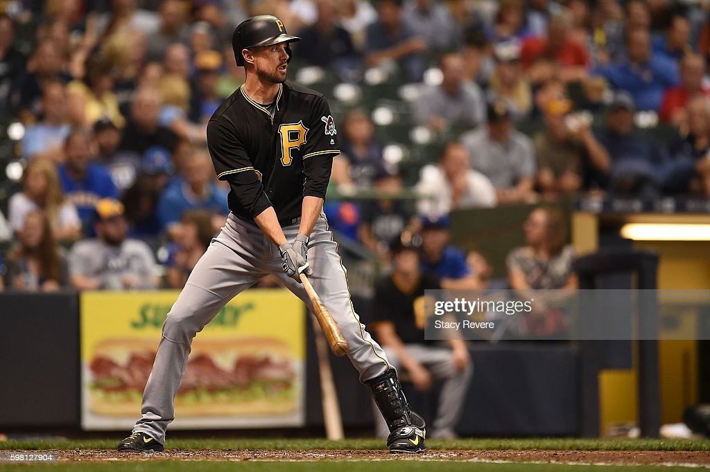 Jordy Mercer of the Pittsburgh Pirates waits for a pitch during a game against the Milwaukee Brewers at Miller Park on August 26 2016 in Milwaukee...