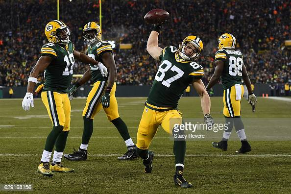 Jordy Nelson of the Green Bay Packers celebrates a touchdown during the second quarter of a game against the Seattle Seahawks at Lambeau Field on...