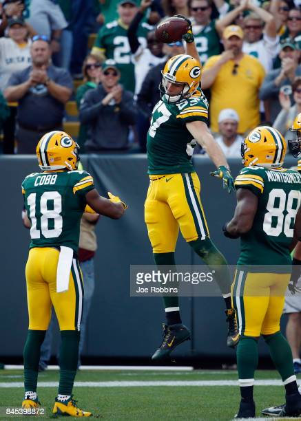 Jordy Nelson of the Green Bay Packers celebrates after making a 32yard reception for a touchdown during the third quarter against the Seattle...