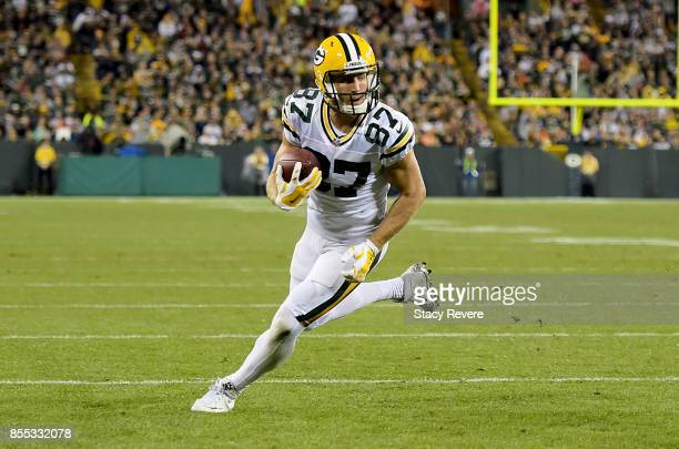 Jordy Nelson of the Green Bay Packers runs with the ball in the third quarter against the Chicago Bears at Lambeau Field on September 28 2017 in...