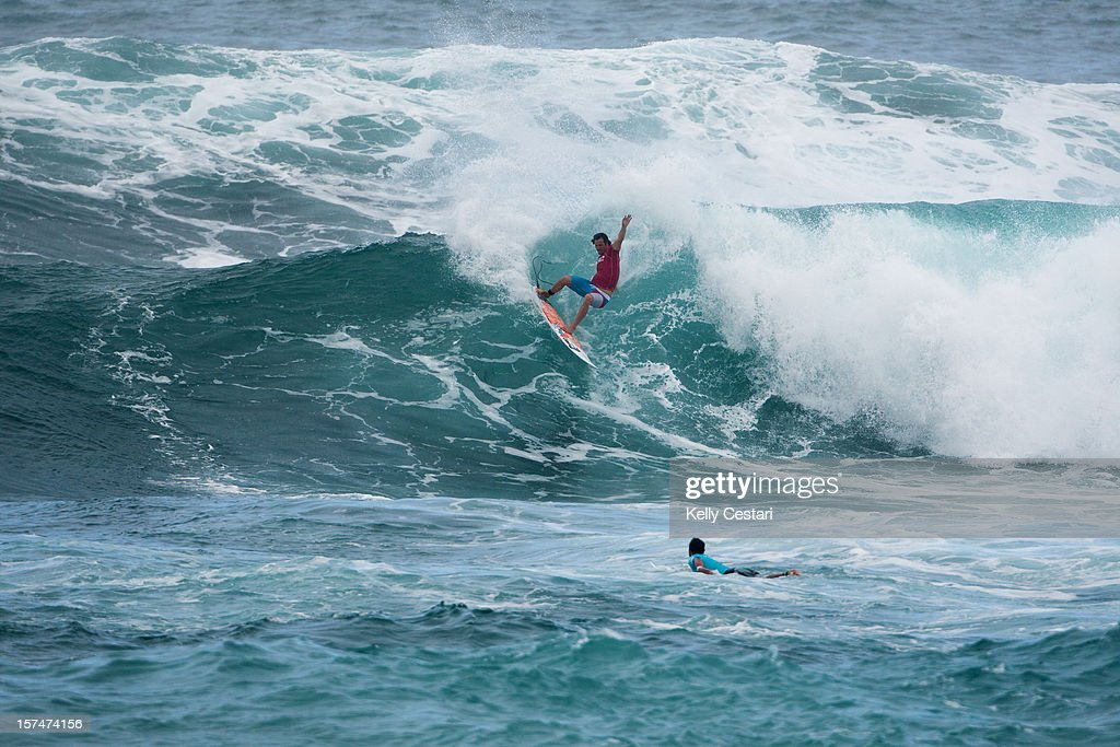 Jordy Smith of South Africa advanced into Round 4 of the VANS World Cup of Surfing at Sunset Beach on December 3, 2012 in North Shore, Hawaii.