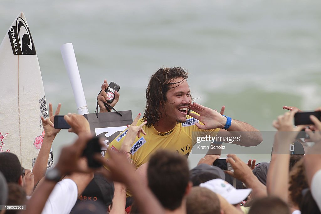 Jordy Smith of South Africa celebrates his victory at the Billabong Rio Pro on May 19, 2013 in Rio de Janeiro, Brazil.