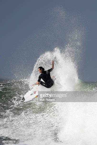 Jordy Smith of South Africa surfs at Snapper Rocks on February 23 2015 on the Gold Coast Australia