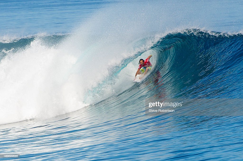 Jordy Smith of South Africa surfs his round one heat at the Volcom Pro Fiji on June 4, 2013 in Tavarua, Fiji.