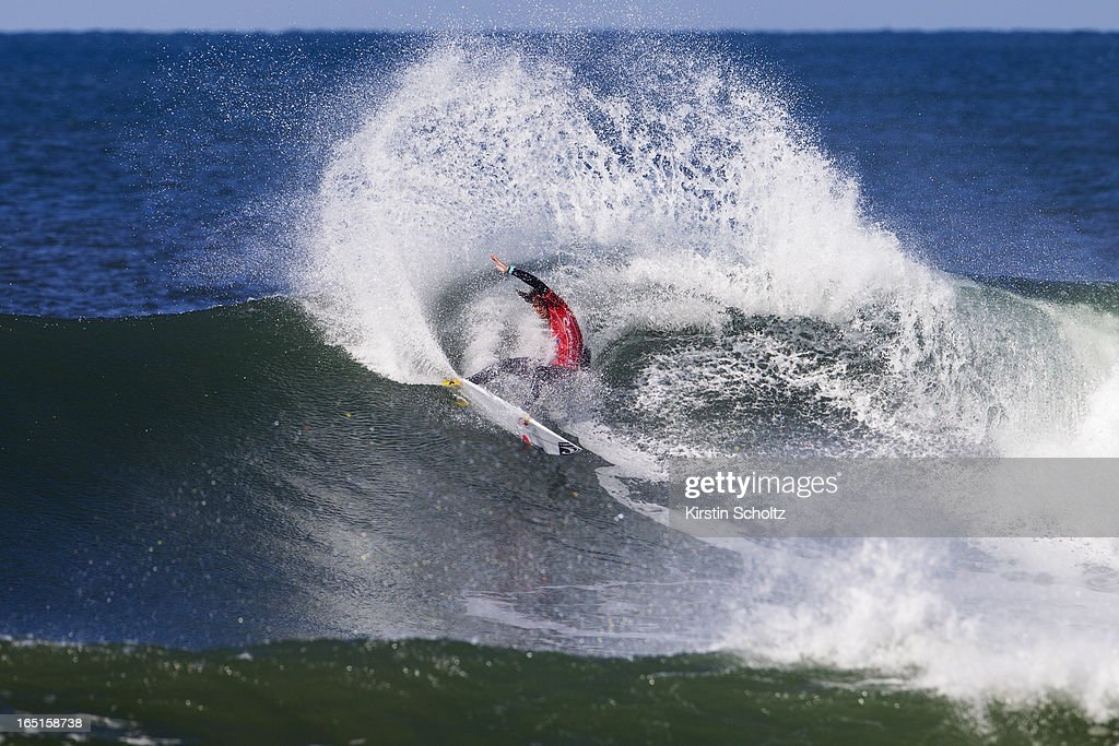 Jordy Smith of South Africa surfs into the quarterfinals of the Rip Curl Pro on April 1, 2013 in Bells Beach, Australia.