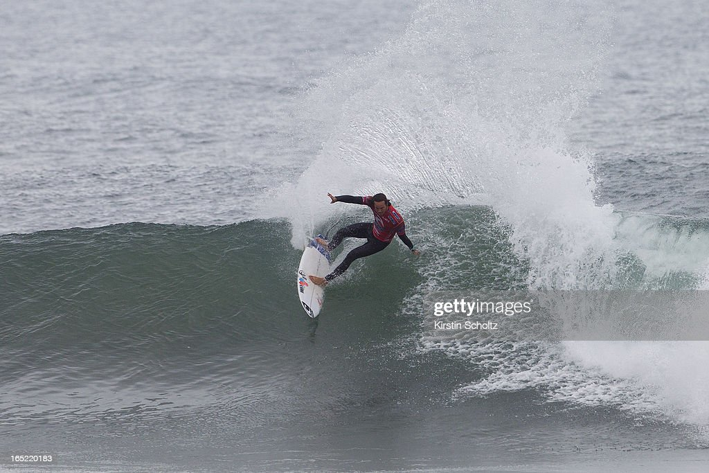 Jordy Smith of South Africa surfs to an equal third place on April 2, 2013 in Bells Beach, Australia.