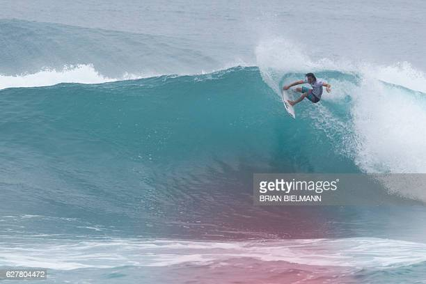 Jordy Smith of South Africa wins 2016 the Vans World Cup surfing event at Sunset Beach Hawai on December 4 2016 The Championship Tour surfer won his...