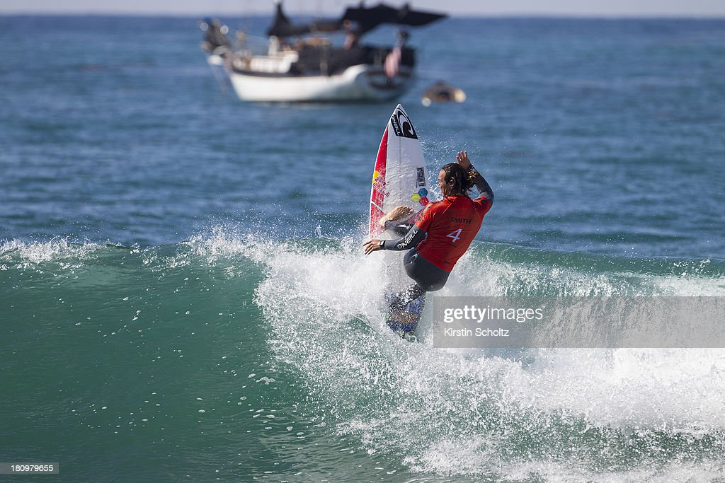 Jordy Smith surfs to an equal third place on September 18, 2013 in San Diego, United States.