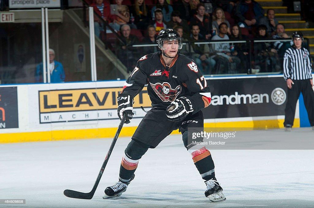 Jordy Stallard #17 of Calgary Hitmen skates against the Kelowna Rockets on February 28, 2015 at Prospera Place in Kelowna, British Columbia, Canada.