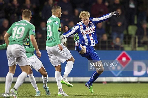 Jordy van Deelen of FC Dordrecht Josimar Lima of FC Dordrecht Thomas Dalgaard of sc Heerenveen during the Dutch Eredivisie match between FC Dordrecht...