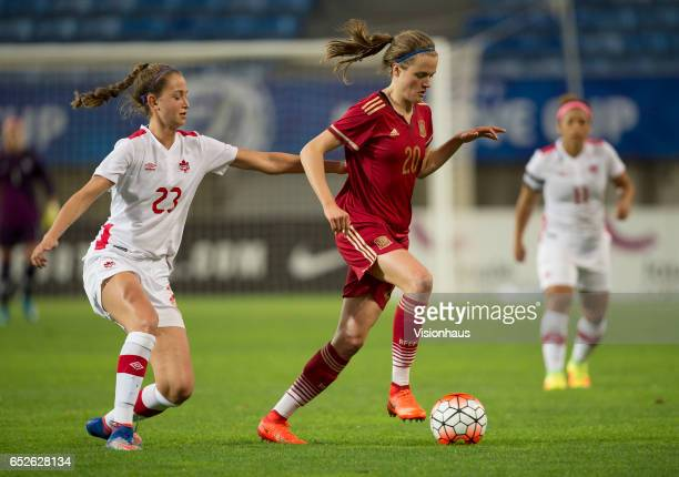 Jordyn Huitema of Canada and Irene Paredes Hernandez of Spain during the 2017 Algarve Cup Final between Spain and Canada at the Estadio Algarve on...