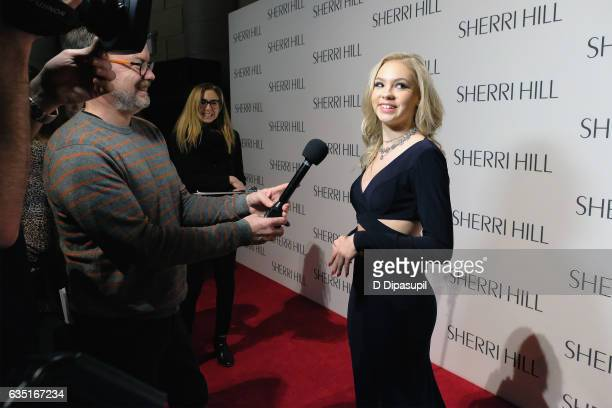 Jordyn Jones is interviewed the Sherri Hill NYFW Fall 2017 Runway Show at Gotham Hall on February 13 2017 in New York City