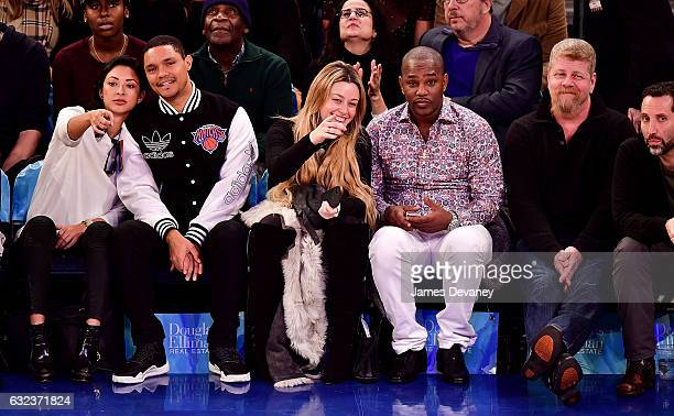 Jordyn Taylor Trevor Noah guest Cam'ron and Michael Cudlitz attend Phoenix Suns Vs New York Knicks game at Madison Square Garden on January 21 2017...