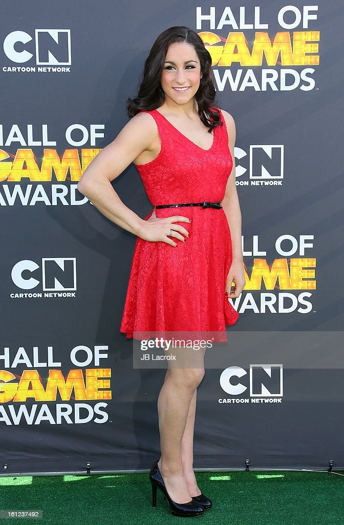 <a gi-track='captionPersonalityLinkClicked' href=/galleries/search?phrase=Jordyn+Wieber&family=editorial&specificpeople=5720749 ng-click='$event.stopPropagation()'>Jordyn Wieber</a> attends the Third Annual Hall of Game Awards hosted by Cartoon Network at Barker Hangar on February 9, 2013 in Santa Monica, California.
